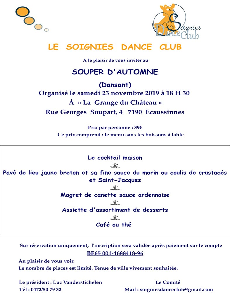 Souper dansant 23/11 Soignies